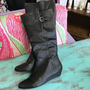 Shoes - Tall black wedge boots